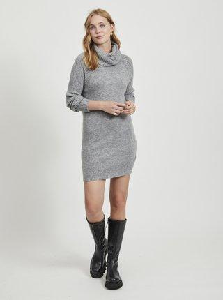 Šedé svetrové šaty s rolákom .OBJECT Nonsia