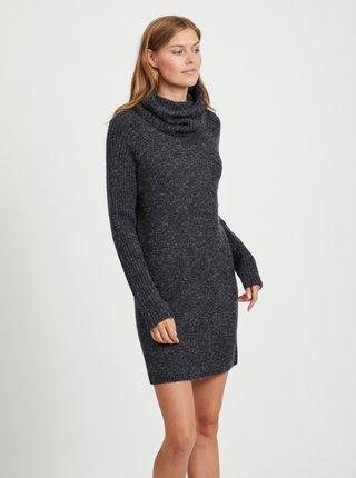 Tmavě šedé svetrové šaty s rolákem .OBJECT Nonsia