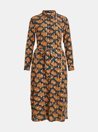 Oranžové vzorované košeľové midišaty VILA Zino