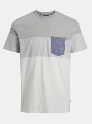 Bielo-šedé tričko Jack & Jones Contrast