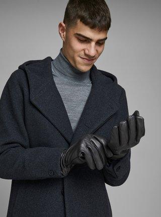 Černé kožené rukavice Jack & Jones Montana