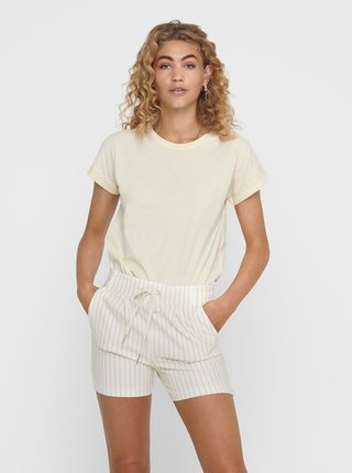 Krémové basic tričko Jacqueline de Yong Pastel