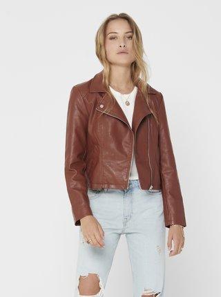 Jachete din piele naturala si sintetica pentru femei Jacqueline de Yong - maro