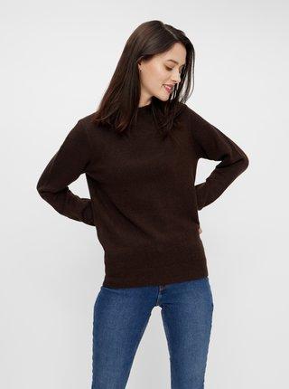 Hnedý basic sveter Pieces Bianca