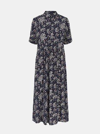 Tmavomodré kvetované košeľové midi šaty Pieces Darling