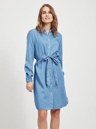 Modré rifľové košeľové šaty VILA Bista