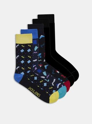 Sada pěti párů černých ponožek s motivem Jack & Jones Pattern