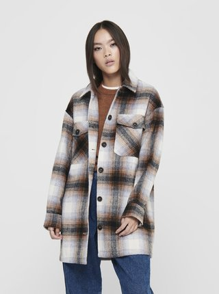 Krémový kostkovaný lehký kabát s příměsí vlny ONLY Nelli