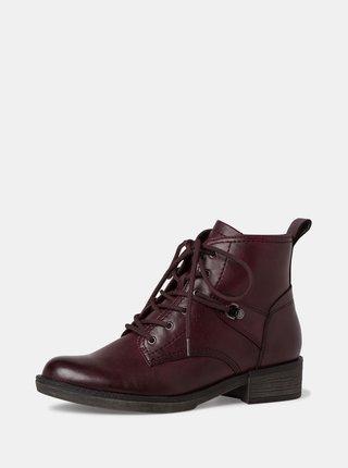 Vínové dámské kotníkové boty Tamaris