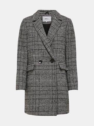 Šedý kockovaný kabát s prímesou vlny ONLY New Selena