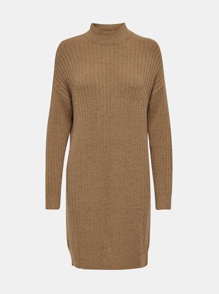 Hnědé svetrové šaty s příměsí vlny ONLY Mekia