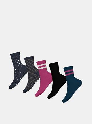 Sada piatich párov dievčenských ponožiek v modrej a čiernej farbe name it Vilde