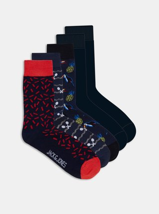 Sada piatich párov čiernych ponožiek s motívmi Jack & Jones  Sport
