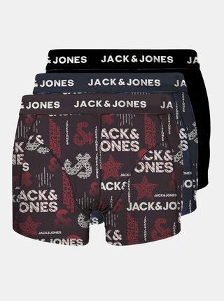 Sada tří vzorovaných boxerek v černé, modré a vínové barvě Jack & Jones Logo