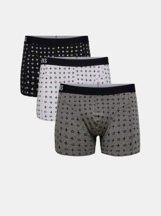 Sada tří vzorovaných boxerek v černé, bílé a šedé barvě ONLY & SONS Nino