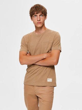 Béžové tričko Selected Homme Ethan