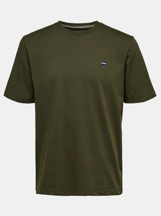 Tmavě zelená tričko Selected Homme Hype