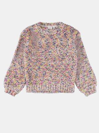 Ružovo-krémový dievčenský žíhaný sveter name it Naura