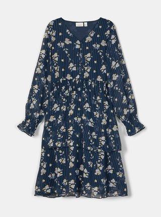 Modré dievčenské kvetované šaty name it Nigara