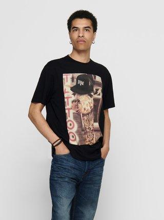 Čierne tričko s potlačou ONLY & SONS Funno