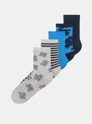 Sada pěti párů klučičích ponožek v šedé a modré barvě name it Vaks