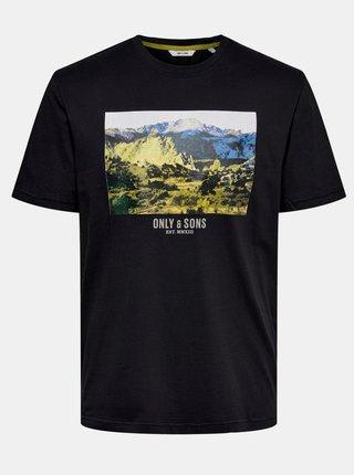 Čierne tričko s potlačou ONLY & SONS Mani
