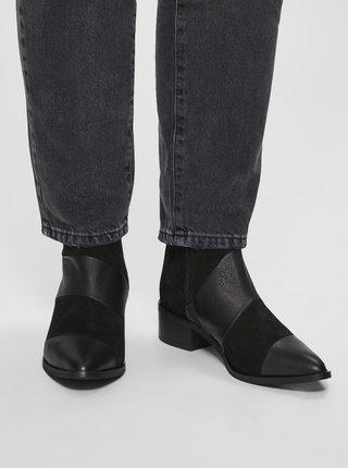 Čierne kožené členkové topánky Selected Femme Ellen