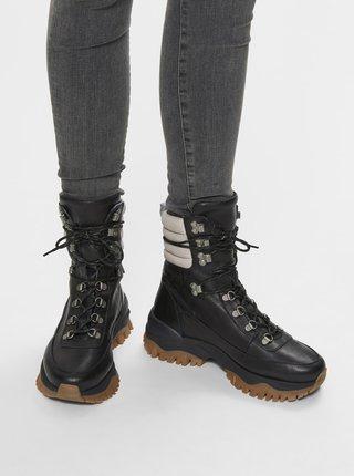 Čierne kožené členkové zimné topánky Selected Femme Amal