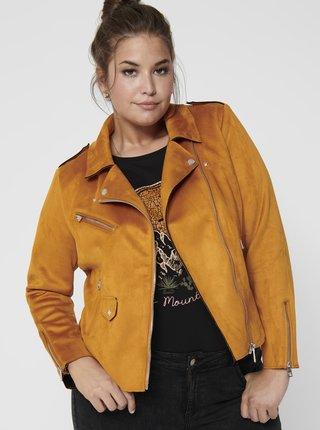 Horčicová koženková bunda v semišovej úprave ONLY CARMAKOMA Sherry