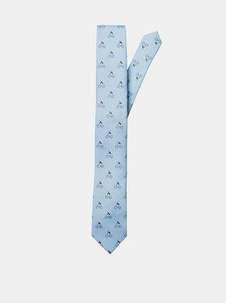Světle modrá vzorovaná kravata Selected Homme Morten