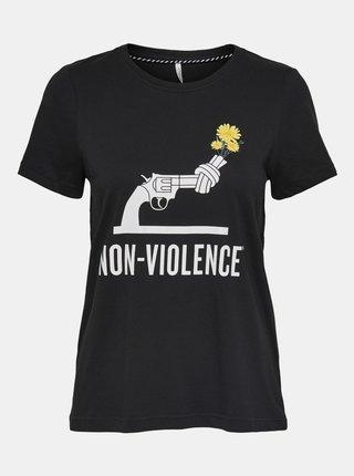 Čierne tričko s potlačou ONLY Non