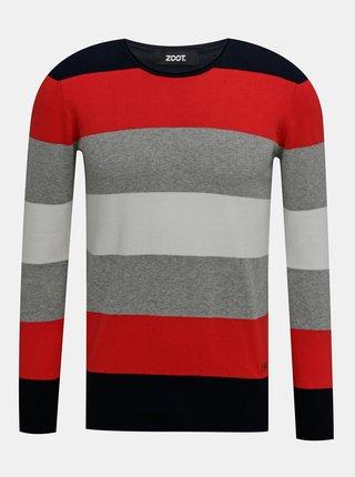 Červeno-šedý pánský pruhovaný svetr ZOOT Matt