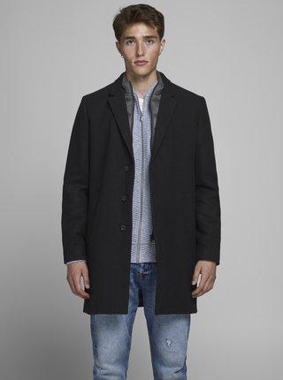 Tmavomodrý kabát s prímesou vlny Jack & Jones Lamoulder