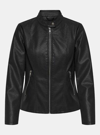 Čierna koženková bunda s povrchovou úpravou ONLY Melisa