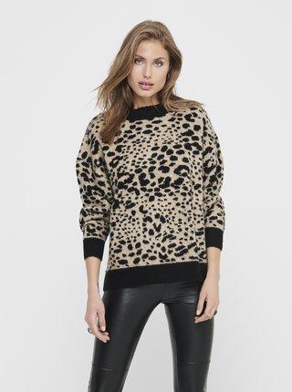 Béžový svetr s leopardím vzorem Jacqueline de Yong Lian