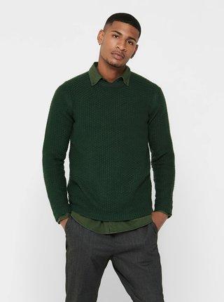 Tmavě zelený svetr ONLY & SONS Loocer