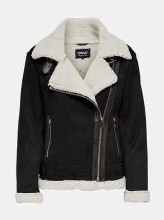 Čierna bunda v semišovej úprave s kožúškom ONLY Diana