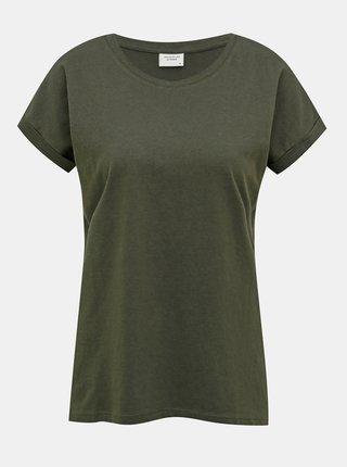 Tmavě zelené basic tričko Jacqueline de Yong Louisa