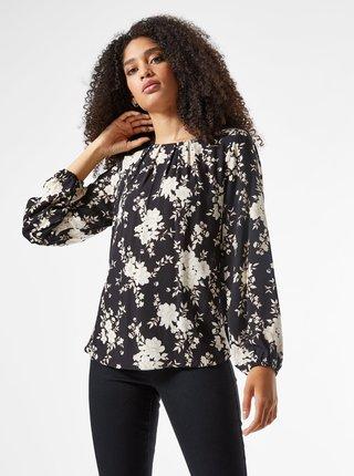 Černá květovaná volná halenka Billie & Blossom