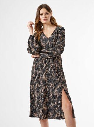 Čierne vzorované šaty s rozparkom Dorothy Perkins