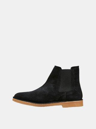 Čierne semišové chelsea topánky Selected Homme Royce