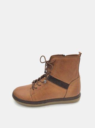 Hnedé dámske kožené zimné topánky WILD