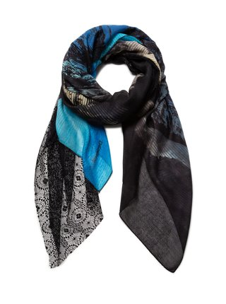 Desigual modrý šátek Foul Stonning s krajkou