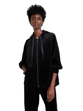 Desigual černá mikina Hoodie Zip Winter Plain Colour s kapucí