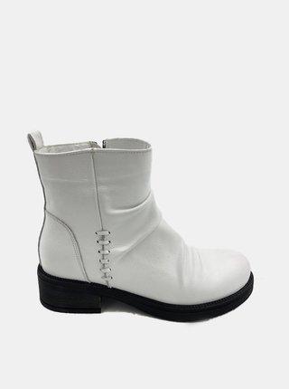 Bílé dámské kožené kotníkové boty WILD
