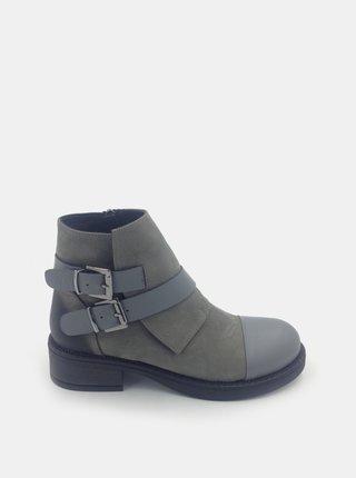Šedé dámské semišové kotníkové boty WILD