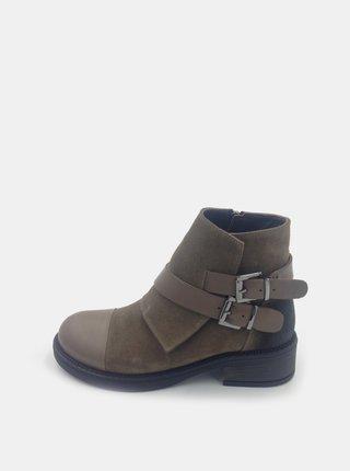 Hnedé dámske semišové členkové topánky WILD