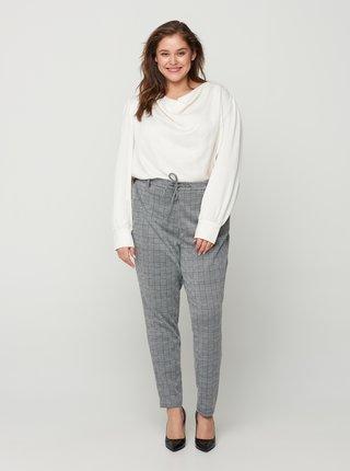Šedé kostkované kalhoty Zizzi