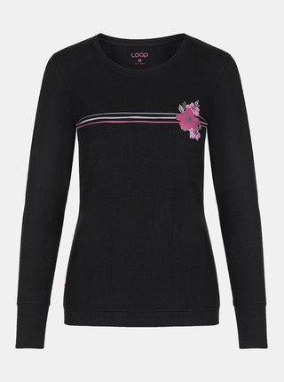 Černé dámské tričko s potiskem LOAP
