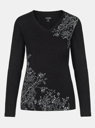 Černé dámské květované tričko LOAP